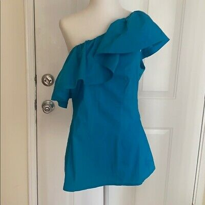 Trina Turk Blue One Shoulder Ruffle Top Size 12