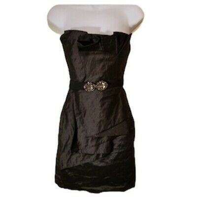 BCBG MaxAzria 0 Black Strapless Belted Dress