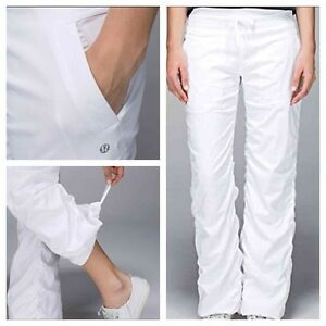 Lululemon lined white studio pants II size 4 (loose fitting)