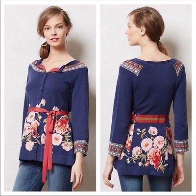 Anthropologie Burgeoning Cardigan Sweater Coat M Belted floral print M FairIsle