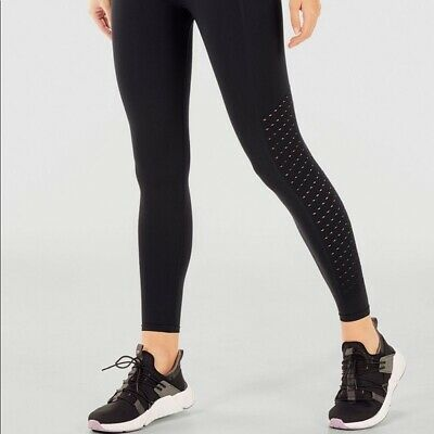 NWT $49.95 FABLETICS Women's Sync HIgh-Waisted Perforated Leggings Black Size MD