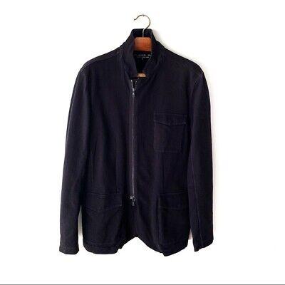 John Varvatos Black Heavy Weight Sweatshirt Full Zip Jacket Mens Large