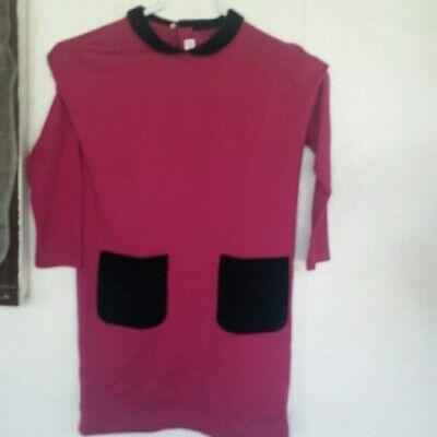 IL Gufo pink dress black velvet collar size 8