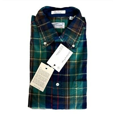 New Gant Rugger The Hugger Indigo Oxford Plaid Shirt Size Medium Multi-Color NWT