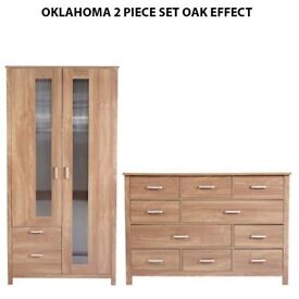 Brand New Oklahoma 2 Piece 2 Door Wardrobe + 10 Drawers Chest Storage Cabinet SET - Oak