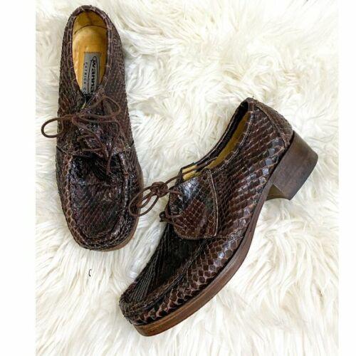 Vintage Patrick Cox Wannabe lace up moc Snake skin, Size 38.5 EU/US8