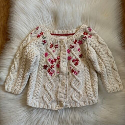 Infant Girl Baby GAP Beige Hand Knit Pink Floral Long sleeve Sweater Size 18-24M
