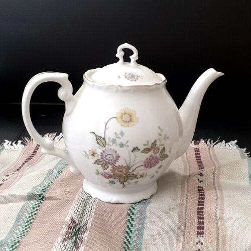 🌸L@@K🌸Vintage gold trim 5 cups porcelain Teapot with flowers