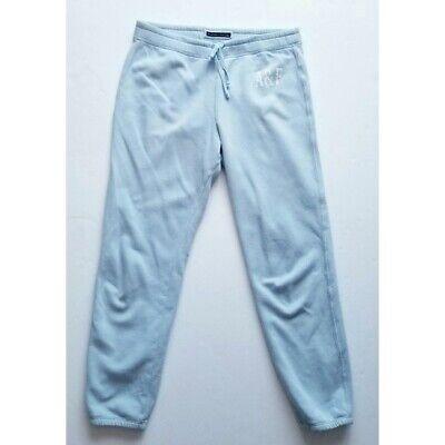 Abercrombie A&F Blue White Soft Sweatpants Large Joggers Comfy Style Women