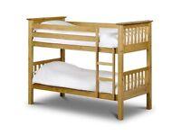 🛑⭕ New 🛑⭕Single 3FT 4FT9 Bunk Bed Wooden Frame Pine Full Panel Headboard 1000 Pocket Mattress