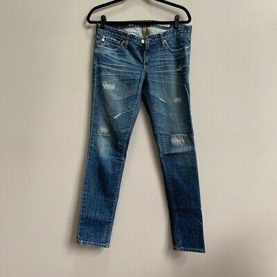 Stilt Cigarette Leg (AG Adriano Goldschmied 28R Stilt Cigarette Leg Dark Wash Distressed Skinny Jeans)