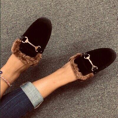 NEW** Ladies Black velvet fur details flat mules. SIZE 6,6.5,7,7.5,8,8.5,9,10,11 Black Velvet Flats