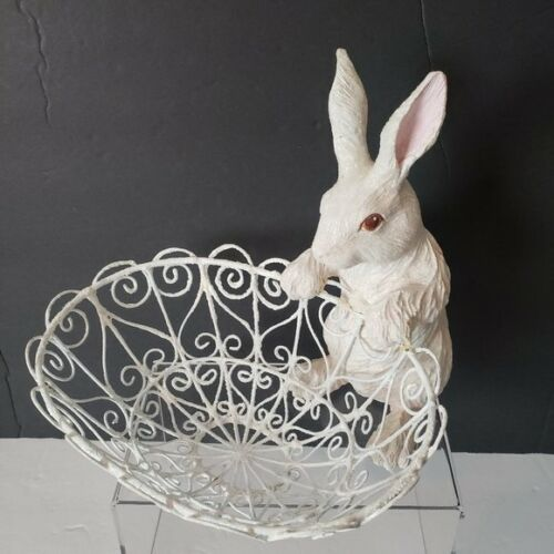 Glittery Bunny Rabbit Wire Basket Figure Decor
