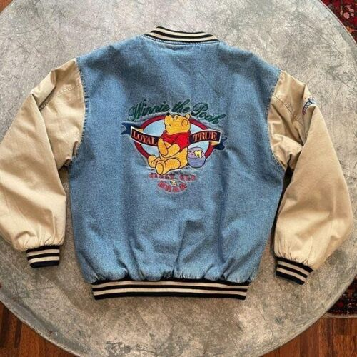 NWT Vintage Disney Winnie the Pooh Varsity Bomber Denim Jacket Size Large