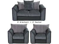 Brand New Tennyson 3 Piece 2 Fabric Armchair + 2 Seater Couch Fabric Sofa Set - Black/Grey
