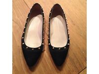 Kurt Geiger Flat Black Moleskin Studded Shoes, Size 8