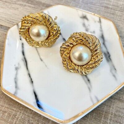 Vintage 80s Paolo Gucci Faux Pearl Clip Earrings