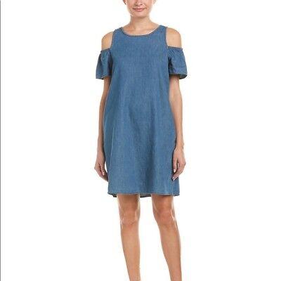 NEW Joes Jeans Womens Denim Dress Size Large Blue Cold Shoulder A Line Pockets ()