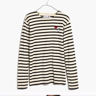 NWT Madewell Armor-Lux embroidered Hands + Lips striped tee Size S
