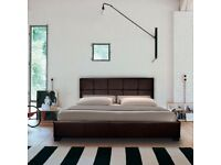 Black leather look double bed with mattress
