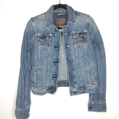 Abercrombie & Fitch Size Small Medium Wash Blue Jean Denim Jacket Distressed