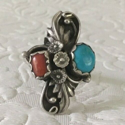 Sterling Silver Ring With Turquoise & Coral Stones Size 7.5  Southwestern