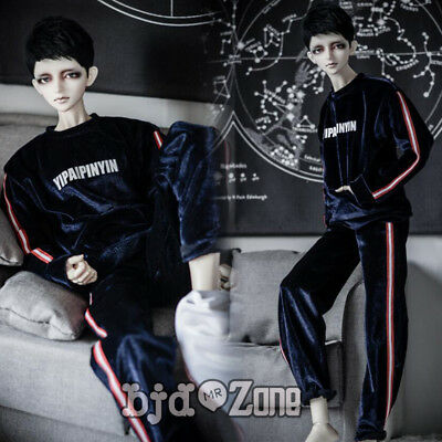 Fashion striation Black pleuche Sport suit 1/3 1/4 Boy BJD SD UNCLE Doll Clothes