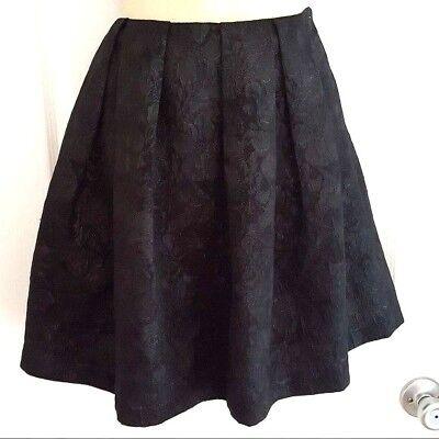 DKNY Womens Skirt Size 4 Black Brocade Pleated Side Zip Pockets Dressy