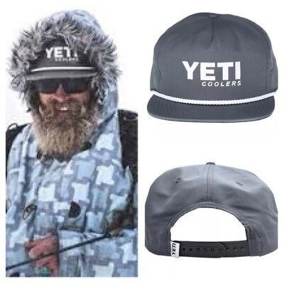 ced5a61060a NWT Men s Yeti Cooler Brand Slate Gray Outdoor Hiking Camping Rope Snapback  Hat