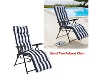 Brand New Navy Set of 2 Striped Cushioned Relaxer Folding Reclining Chair Outdoor Garden Patio