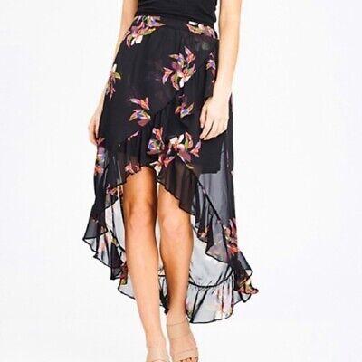 Target A-New-Day High Low Hem Ruffle Maxi Skirt, Elastic Waist - Black/Floral (Target Long Skirts)