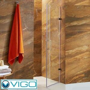 NEW*VIGO SOHO FRAMELESS SHOWER DOOR STAINLESS STEEL CLEAR GLASS - SHOWERS DOORS BATH BATHROOM ALCOVE ENCLOSURE