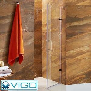 NEW*VIGO SOHO FRAMELESS SHOWER DOOR STAINLESS STEEL CLEAR GLASS - SHOWERS DOORS BATH BATHROOM ALCOVE ENCLOSURE
