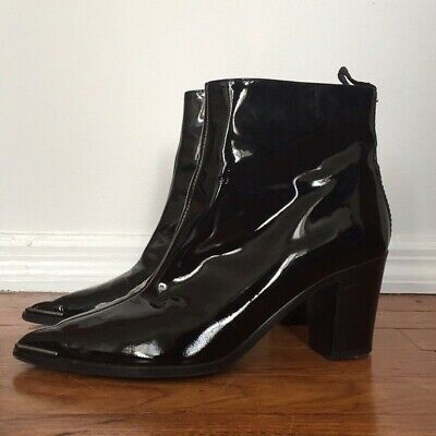 Acne Studios women's 39 9 8.5 Loma black patent leather ankle boots western $600