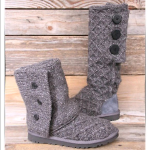 Charcoal grey size 9 Ugg boots lattice cardy uggs