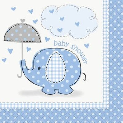 Blue Baby Boy Shower Party SWEET UMBRELLA ELEPHANT BEVERAGE COCKTAIL NAPKINS