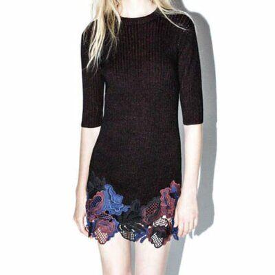 NWT 3.1 Phillip Lim XS Knit Wool Ribbed Embellished Lace Sweater Mini Dress $550