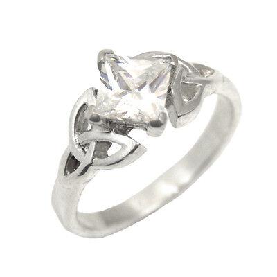 Celtic Trinity Knot Engagement Ring Princess Cut 1.25ct Diamond-Unique 14ct Gold 14ct Princess Cut Diamond