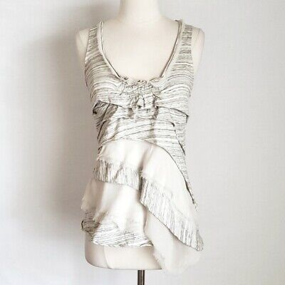 ANTHROPOLOGIE C. KEER Gray & Ivory Striped Tiered Ruffle Knit Tank Top- Small, S