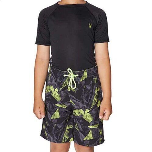 SPYDER 2 Pieces Youth Swim Set Quick Dry Boys Swimwear black/gray M (10/12)
