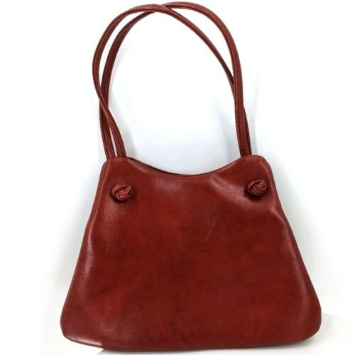 Mr Mart 1950s Vintage Leather Shoulder Bag Top Double Handle Reddish Brown 50s