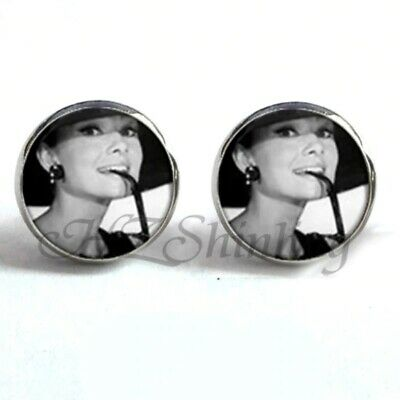 NEW Silver Round B&W Icon Audrey Hepburn Hat Breakfast at Tiffany's Earrings