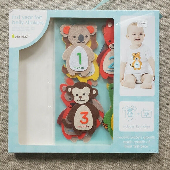 Pearhead First Year Felt Belly Stickers Animals Fox Monkey Tiger Lion Owl Hippo