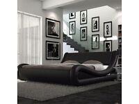 King size Roma Italian Modern Designer Leather Bed