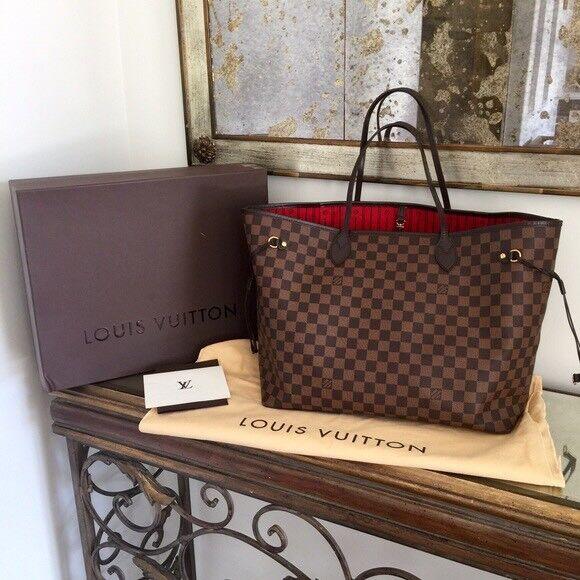 Louis Vuitton Neverfull Designer Womens Handbag Pouch Purse Travel Bag
