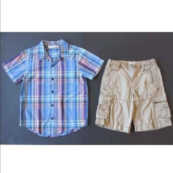 Old Navy Small 6-7 Blue Plaid Plaid Button Down Dress Shirt Khaki Tan Shorts Out