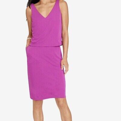 New Lauren Ralph Lauren Jersey Layer V Back Purple Dress S M L XL SP MP LP