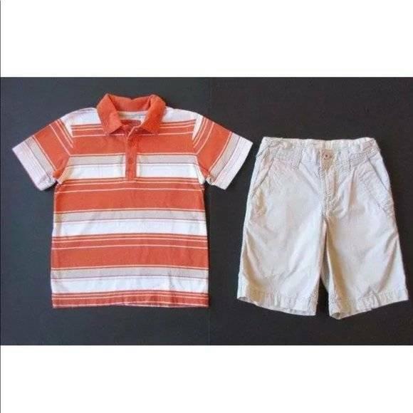 Old Navy Small 6-7 Orange White Striped Polo Shirt Khaki Tan Shorts Outfit Lot