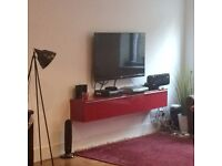 Furniture £150 for the lot large leather footstool, Dwell chairs, floating shelf, cabinet, bed