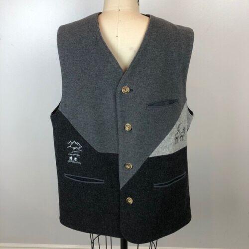 OS TRACHTEN German Wool Waistcoat Vest Oktoberfest Size 52 Gray Alps Bavarian